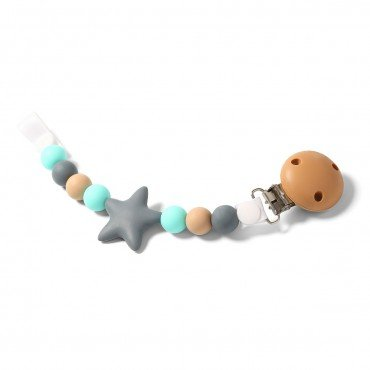 BabyOno Tag silicone pacifier NURSING NATURAL GRAY