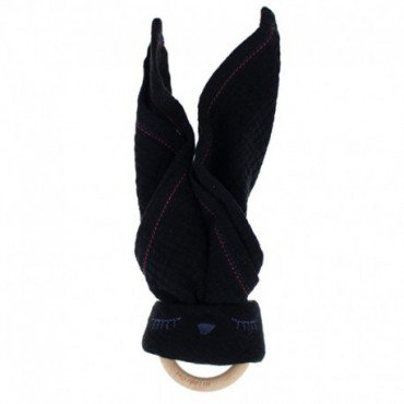 Hi, Little One - cuddly muslin teething Sleepy Bunny muslin cozy with wood teether Black