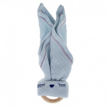 Hi, Little One - cuddly muslin teething Sleepy Bunny muslin cozy with wood teether, Baby Blue
