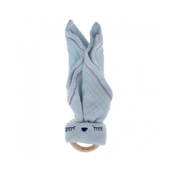 Hi Little One - Przytulanka muślinowa z gryzakiem Sleepy Bunny cozy muslin with wood teether,Baby Blue