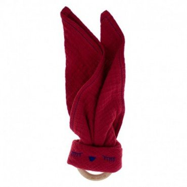 Hi, Little One - cuddly muslin teething Sleepy Bunny muslin cozy with wood teether Strawberry