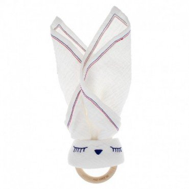 Hi Little One - Przytulanka muślinowa z gryzakiem Sleepy Bunny cozy muslin with wood teether White
