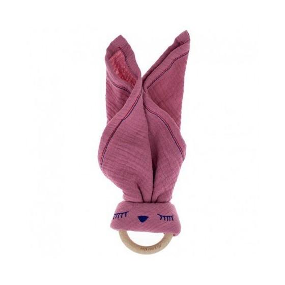 Hi Little One - Przytulanka muślinowa z gryzakiem Sleepy Bunny cozy muslin with wood teether Pink