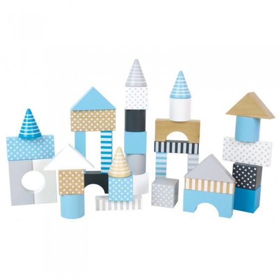 Jabadabado Wooden blocks in a bucket light blue 50 pcs