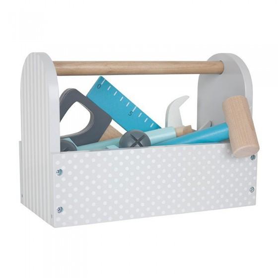 Jabadabado Drewniana szara skrzynia z narzędziami