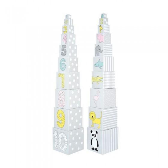 Jabadabado Piramida wieża 10 kostek ze zwierzątkami