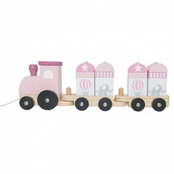 Jabadabado Drewniany pociąg z klockami różowy