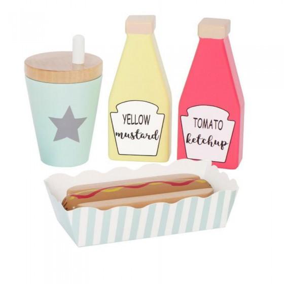 Jabadabado Drewniany zestaw hot dog,