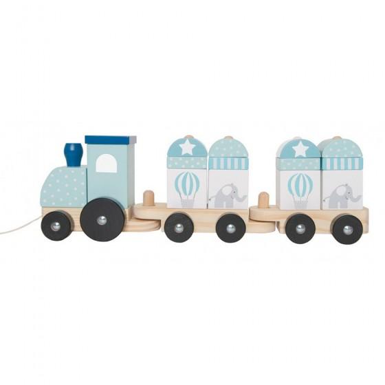 Jabadabado Drewniany pociąg z klockami niebieski