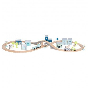 Jabadabado wooden track car, blue