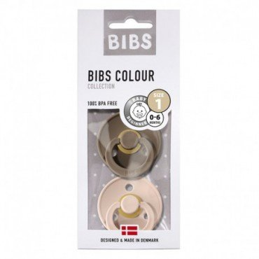 BIBS 2-PACK S & BLUSH DARK OAK rubber soother Hevea