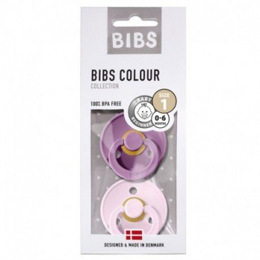 BIBS 2-PACK S LAVENDER & baby pink soother Hevea rubber