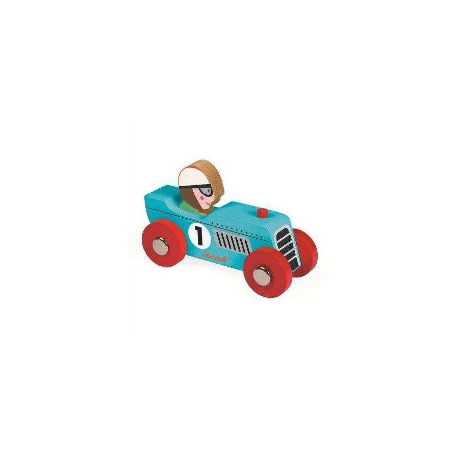 Janod, Wyścigówka drewniana Retromotor niebieska