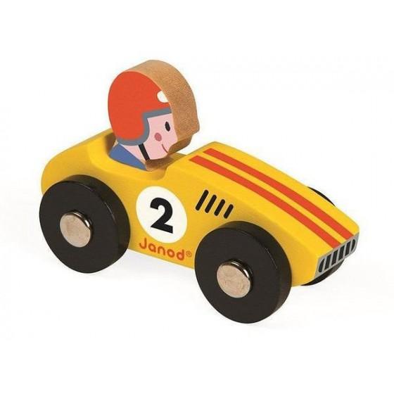 Janod, Wyścigówka drewniana Racer żółta
