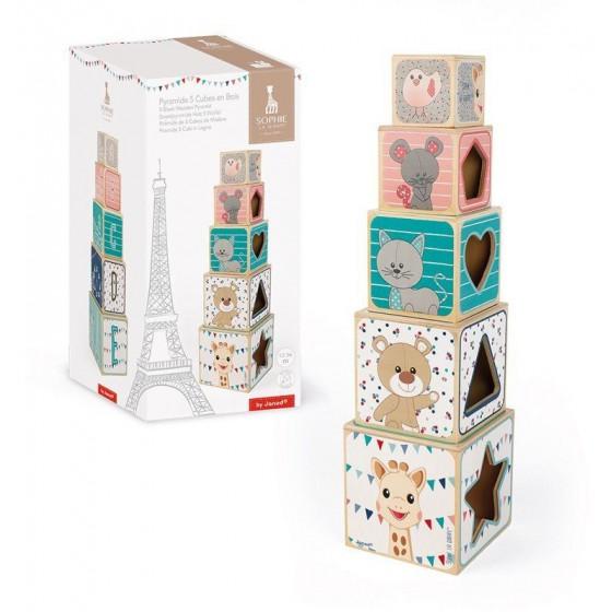 Janod Klocki Piramida wieża drewniana Żyrafka Sophie