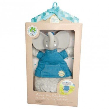 Meiya & Alvin - Alvin Elephant Doll Rattle with Organic Teether Head