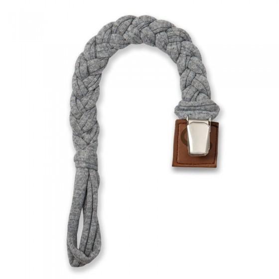 Hi Little One - warkoczykowa bawełniana zawieszka do smoczka Pacifer holder Grey