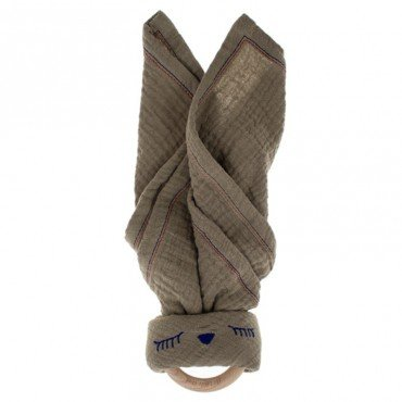 Hi, Little One - cuddly muslin teething Sleepy Bunny muslin cozy with wood teether Dark Oak Light