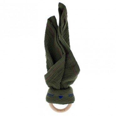 Hi, Little One - cuddly muslin teething Sleepy Bunny muslin cozy with wood teether Hunter Green