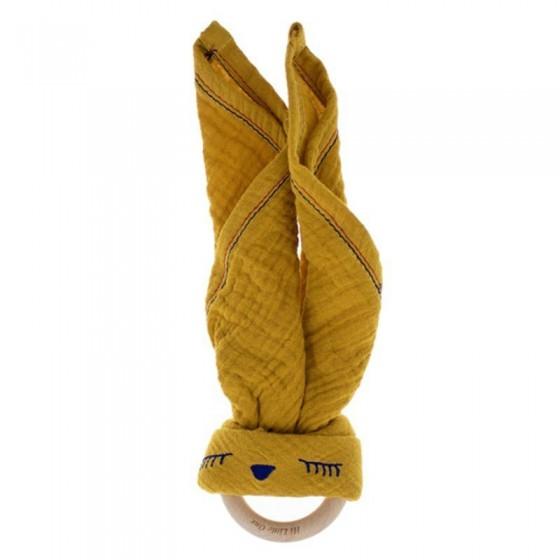 Hi Little One - Przytulanka muślinowa z gryzakiem Sleepy Bunny cozy muslin with wood teether Mustard