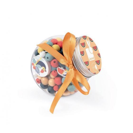 Janod Zestaw do tworzenia biżuterii Drewniane koraliki Tukany