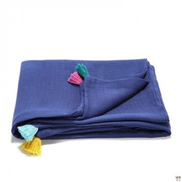 LA Millou muslin blanket FIRST TOUCH S NAVY