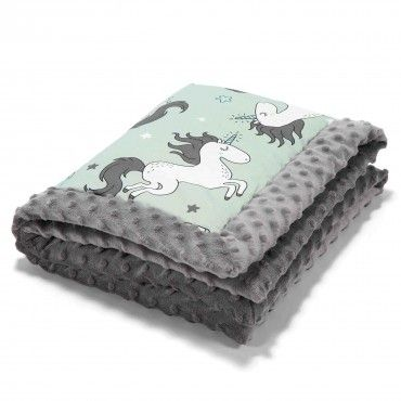 La Millou BY MAJA BOHOSIEWICZ - NEWBORN BLANKET - UNICORN RAINBOW KNIGHT - GREY