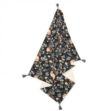 La Millou VELVET COLLECTION - MEDIUM LIGHT BLANKET - BLOOMING BOUTIQUE NOIR - RAFAELLO