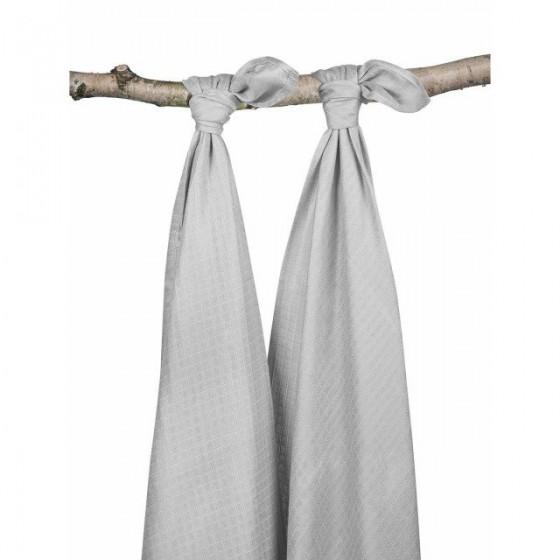 Jollein Duży otulacz bambusowy 115x115cm Szary 2 sztuki