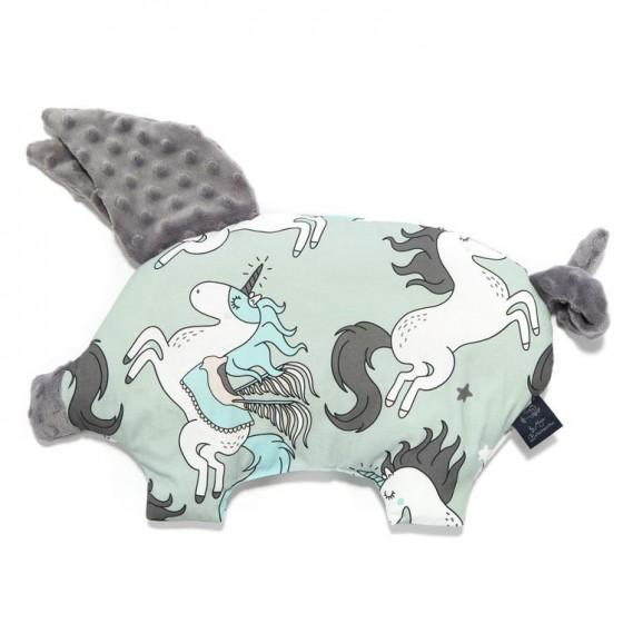 La Millou BY MAJA BOHOSIEWICZ - SLEEPY PIG PILLOW - UNICORN RAINBOW KNIGHT - GREY