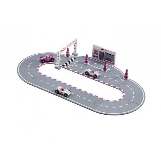 Kids Concept Wooden Raceway Pink