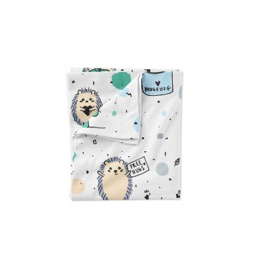 LULLALOVE hedgehogs BLUE COTTON BEDDING