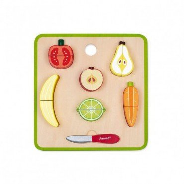 Janod wooden puzzle 3D Fruits and vegetables set for cutting magnet