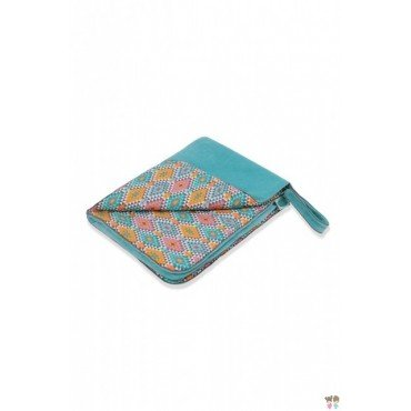 PINK NO MORE warm blanket 70x90cm ETHNIC INTENSE and cyan WELUR