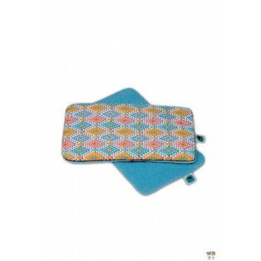 PINK NO MORE CUSHION 40x25cm ETHNIC INTENSE and cyan WELUR