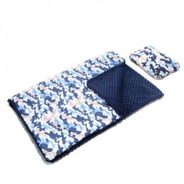 LA Millou KID KIT: Blanket and pillow - RACE CAMOUFLAGE BLUE - NAVY