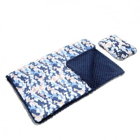 LA Millou KID KIT: Blanket and pillow - RACE CAMOUFLAGE BLUE -