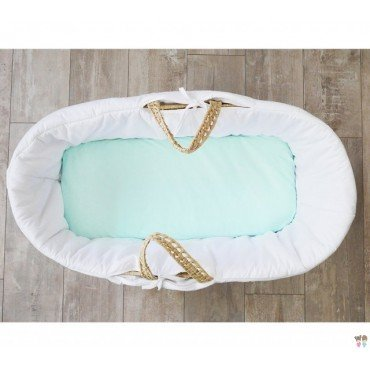 LULLALOVE to the gondola SHEET AND MOSES BASKET 40x90cm MINT
