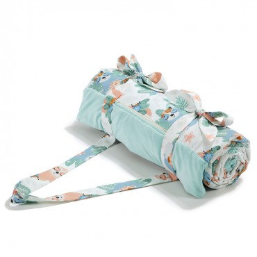La Millou VELVET COLLECTION - PICNIC BLANKET XL - YOGA CANDY SLOTHS - AUDREY MINT