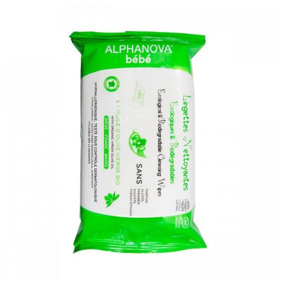 Alphanova Bebe, organic wipes with biodegradable oil, 60 pcs.