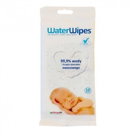 WaterWipes, Wet wipes clean water, 10p., Travel pack