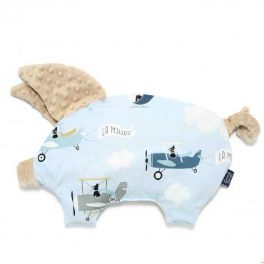 LA MILLOU SLEEPY PIG PILLOW CAPTAIN ADVENTURE LATTE