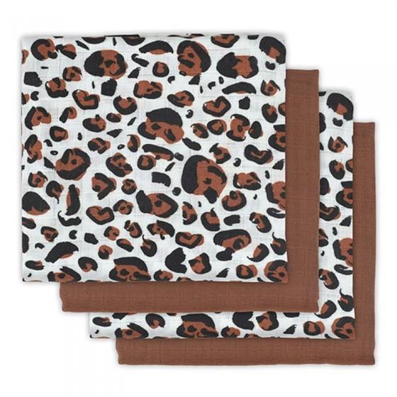 Jollein 4 pieluszki niemowlęce Hydrophlic 70 x 70 cm Leopard natural