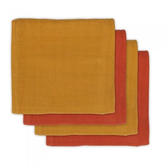 Jollein 4 pieluszki bambusowe 70 x 70 cm Mustard Rust