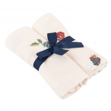 Samiboo - Set of bamboo nappies with a muslin with silver ions blackberries 50x50 2 pcs.