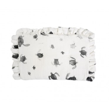 LULLALOVE PILLOW muslin flounce turtles