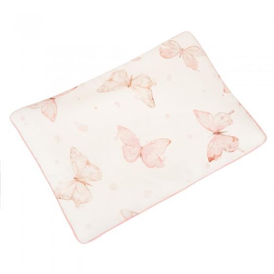 Samiboo - Bawełniana poduszka do spania kwiaty szara wypustka 40x60cm