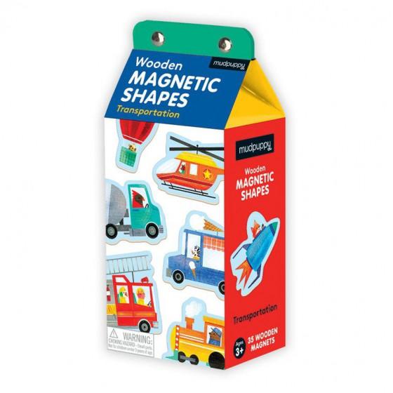 Mudpuppy Zestaw drewnianych magnesów Środki transportu 35 elementów
