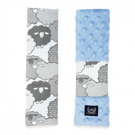LA MILLOU SEATBELT COVER - GRAPHITE SHEEP FAMILY - SKY