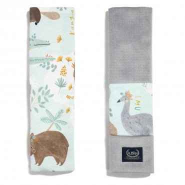 La Millou ORGANIC JERSEY COLLECTION - SEATBELT COVER - DUNDEE & FRIENDS BLUE - GREY